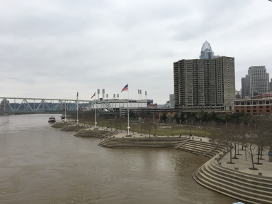 walk along the Ohio River in Cincinnati