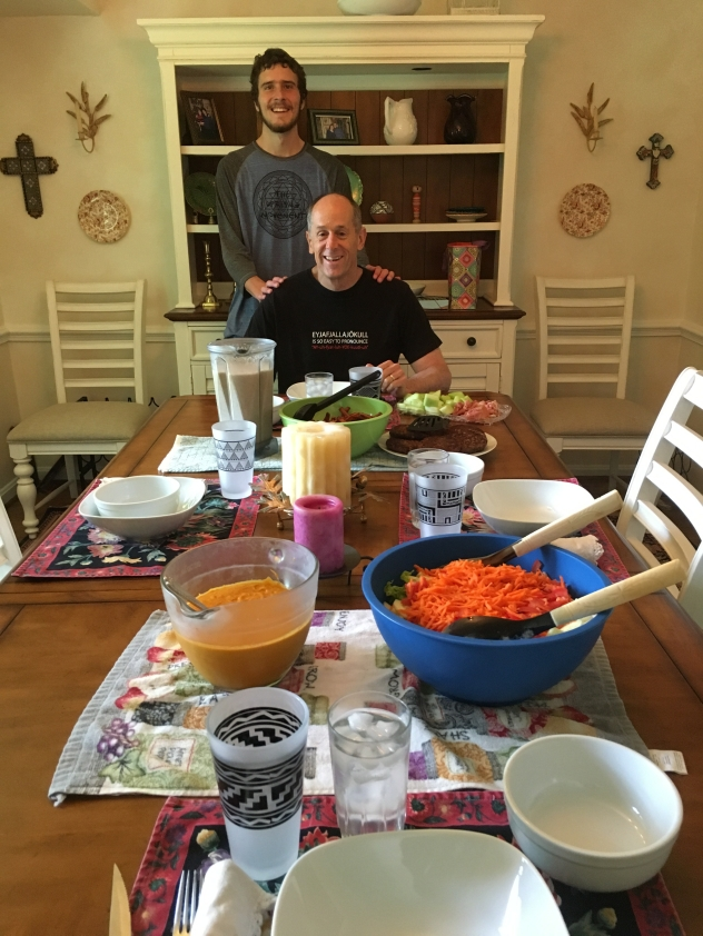 Adam and Mike at an all-vegan Father's Day brunch prepared by Adam