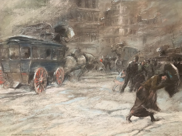 Fifth Avenue Bus, 23rd Street and Broadway by Everett Shinn (1914)