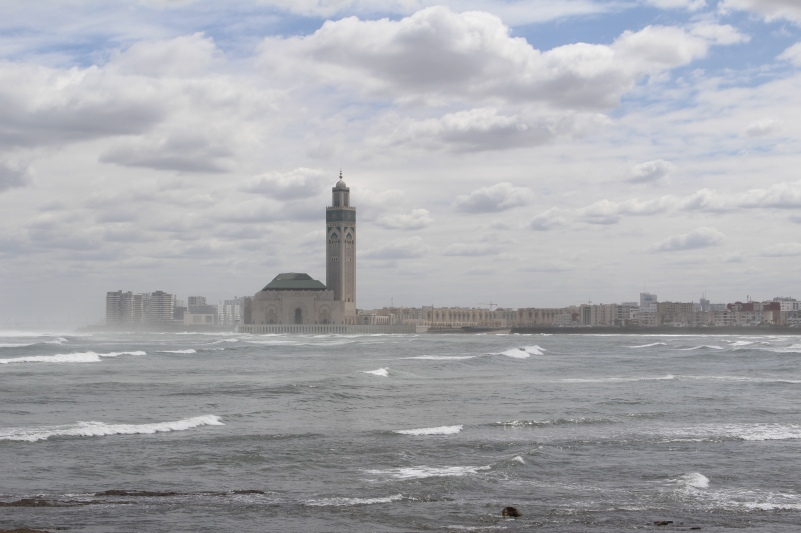 view of Hassan II Mosque from Boulevard de la Corniche