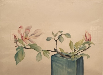 Untitled (Magnolia in a Blue Square Vase), about 1930s