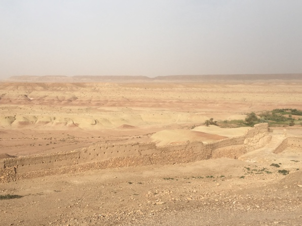 view of the dry riverbed and desert from the agadir