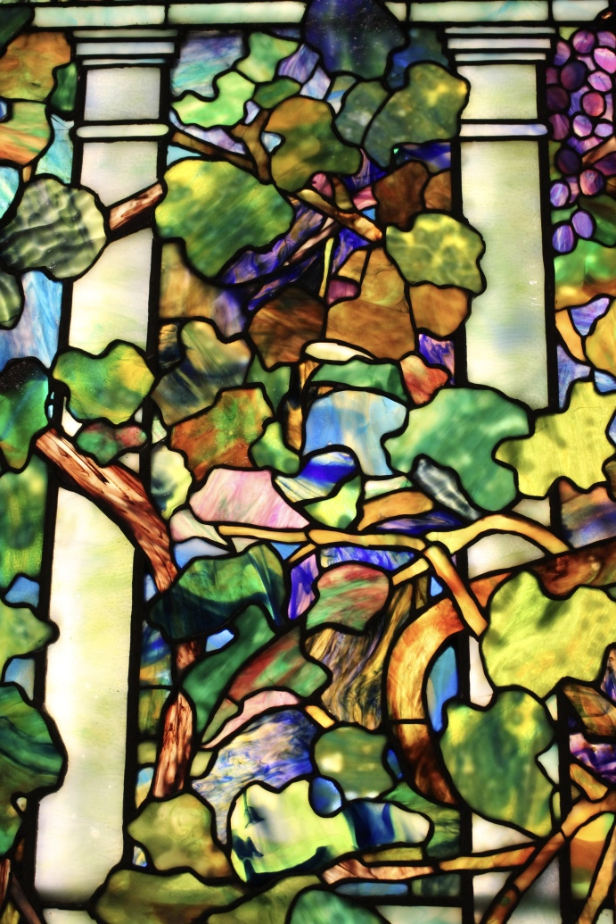 detail: Grape Vine and Lemon Tree with Trellis window, about 1910. Tiffany Studios, New York.