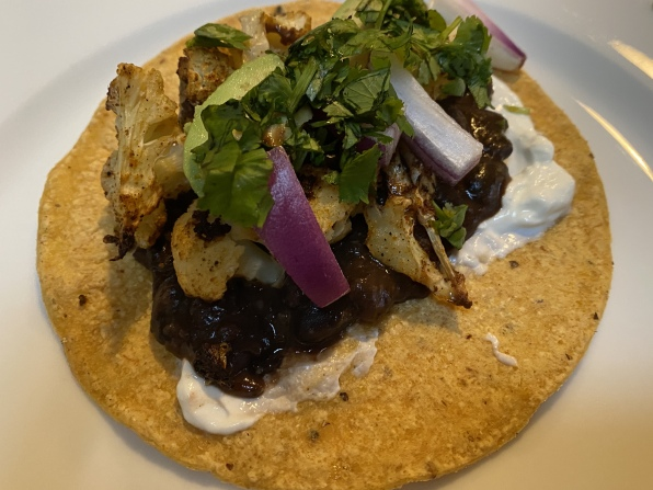 cauliflower and spicy black bean tacos