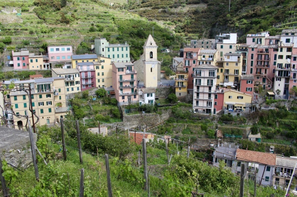 view of Manarola from the Vineyard Walk