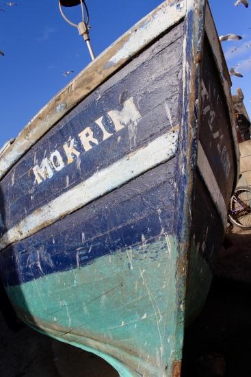 blue boat at Essaouira's port