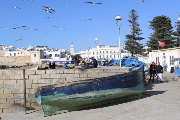blue boat in Essaouira