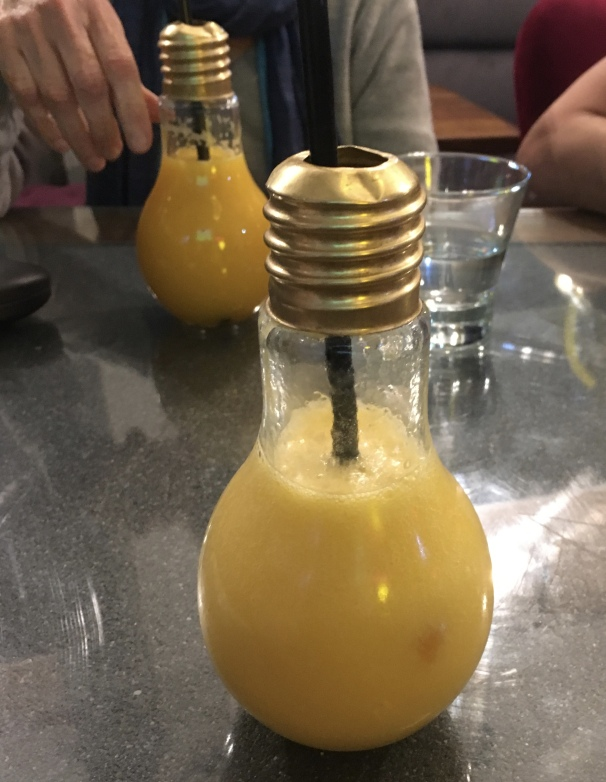drink in a light bulb