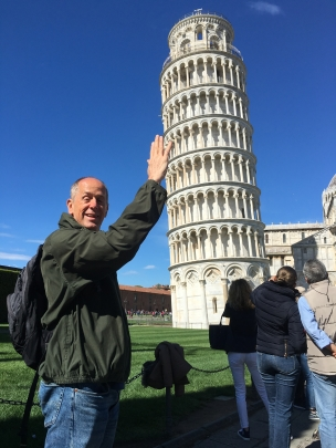 Mike holds up the Leaning Tower