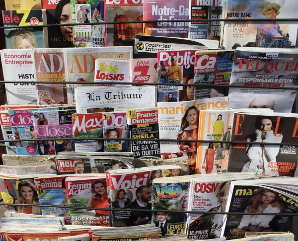 magazines in the Marrakech souq