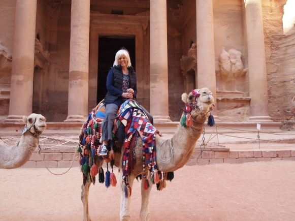 me on a camel near Al-Khazneh, the Treasury