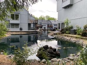 a cute little neighborhood on water