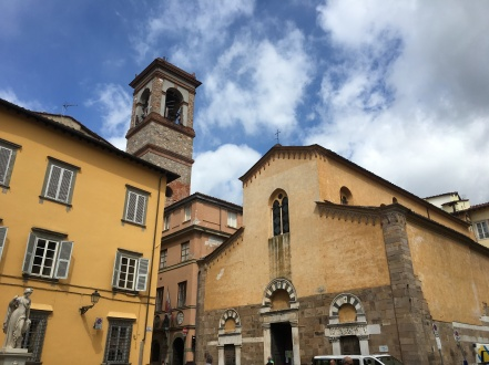 church and tower in Lucca