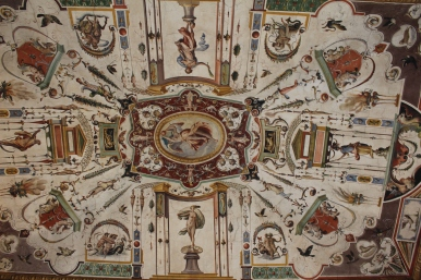 frescoed ceiling at the Uffizi Gallery