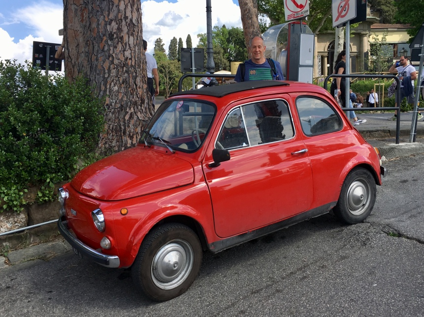 Mike with a Fiat at Piazzale Michelangelo