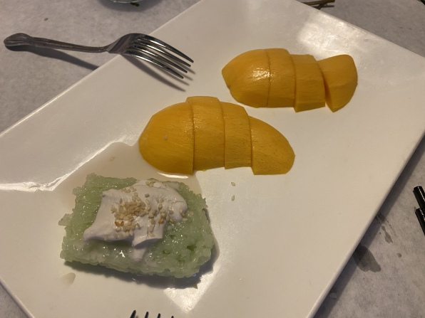sticky rice and mango at East Wind