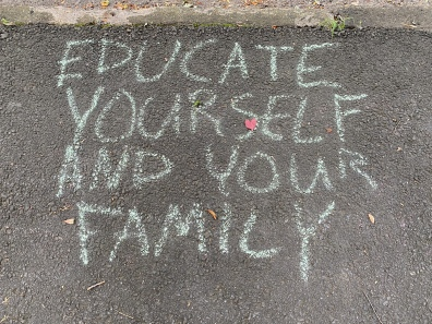 sidewalk messages along Glade Road