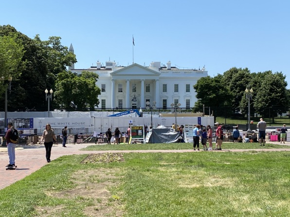 the fenced-in White House