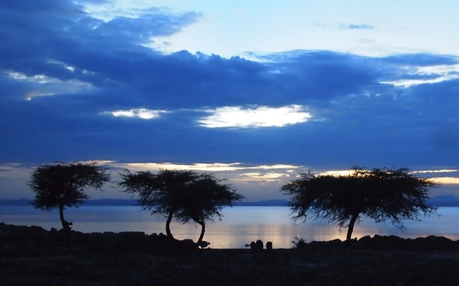 blue light at Lake Langano
