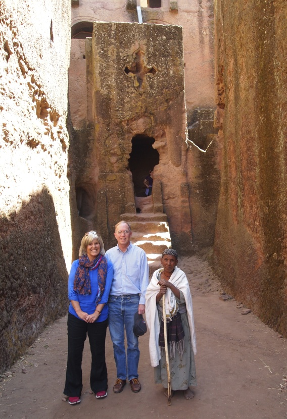 Me, Ed and a Lalibelan woman pose in front of the Tomb of Adam