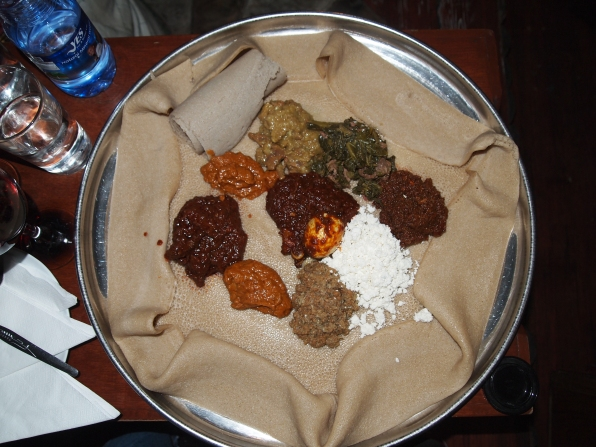 Injera and vegetables