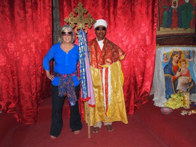 me with a priest at Bet Amanuel