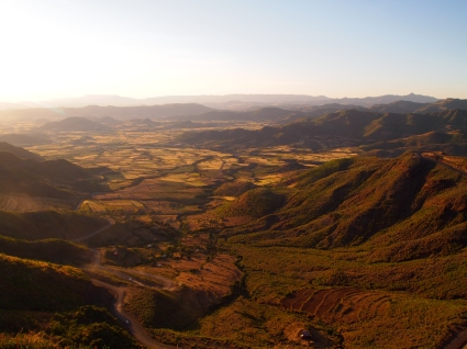 the view of the Lalibela valley from our hotel as the sun is setting