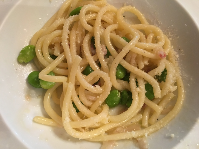umbricelli pasta with bacon and fava beans with pecorino cheese