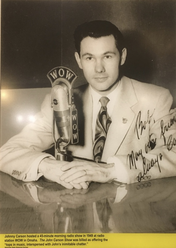 Johnny Carson hosted a 45-minute morning radio show in 1949 at WOW in Omaha.
