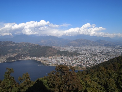 the view of the Himalayas, with Phewa Tal and Pokhara in front, from the World Peace Pagoda