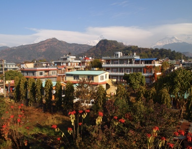 the view of the mountains from my balcony at Pokhara View Garden Hotel