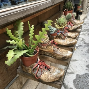 shoe planters in Montepulciano