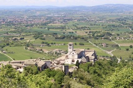 view of Basilica di San Francesco from Rocca Maggiore