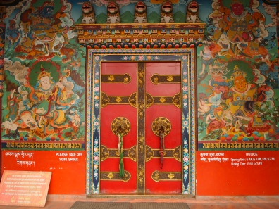 the painted doors and walls inside Tamang gompa