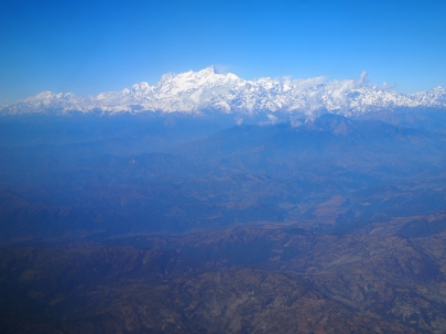airplane view of the Himalayas