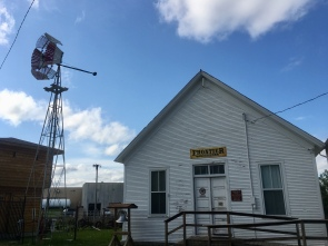 Frontier Town Hall and windmill