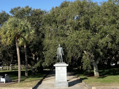 statue of General William Moultrie at White Point Gardens
