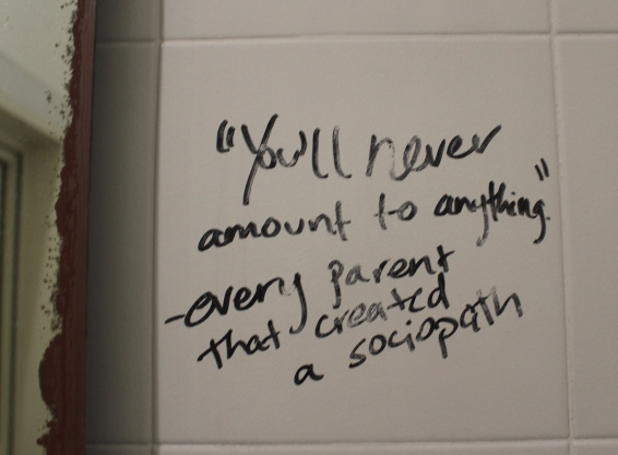 note in the bathroom