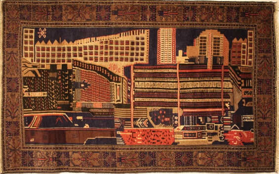 Cityscape Rug, Acquired in Kabul (Afghanistan), late 1970s