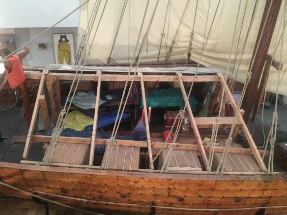 inside the Hjemkomst Viking Ship