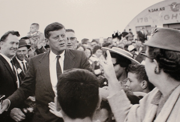President John F. Kennedy arrives at the Fargo Airport on June 19, 1960