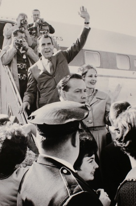 September 14, 1960 Vice President Richarad Nixon arrives in Grand Forks campaigning against JFK for the office of president