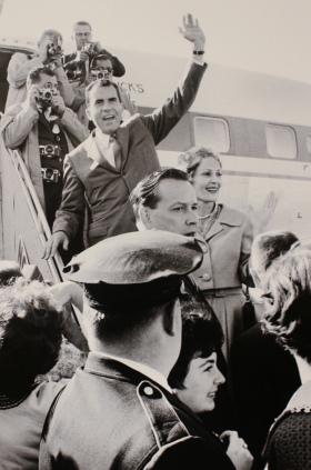 September 14, 1960 Vice President Richarad Nixon arrives in Grand Forks campaigning against JFK for the office of president