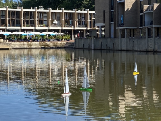 remote powered sailboats at Lake Anne