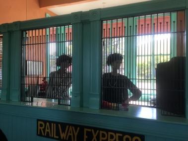 inside the train depot