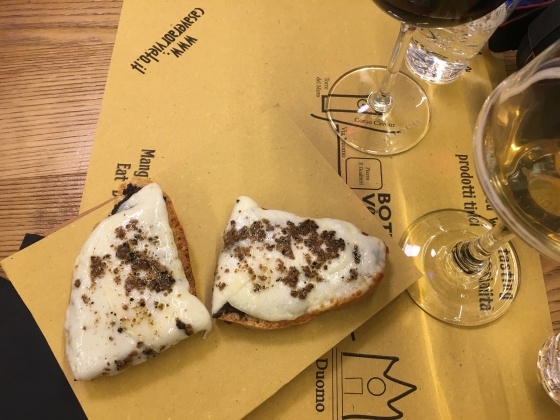 bruschetta with cheese and truffles