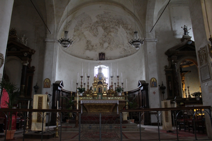inside the town church of Civita