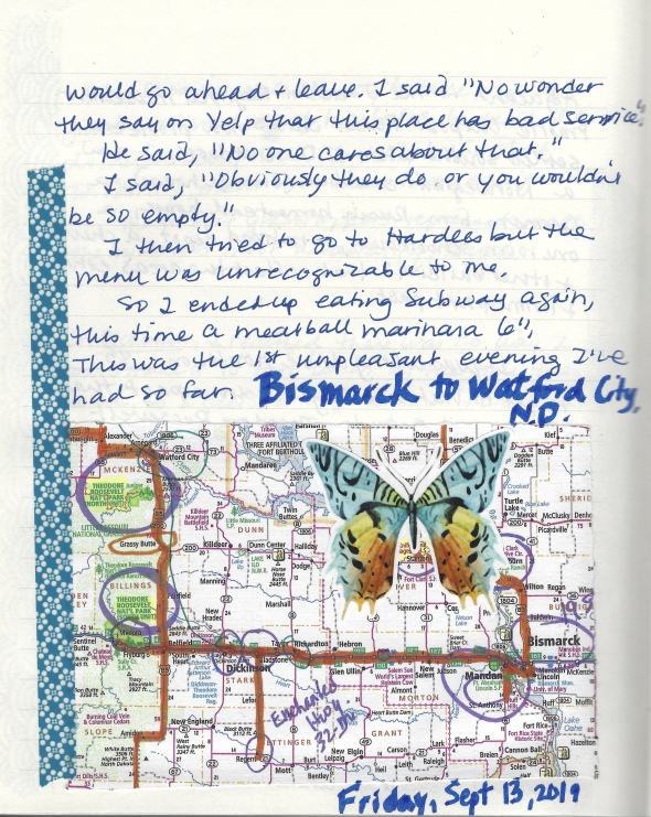 journal pages: Mandan to Watford City