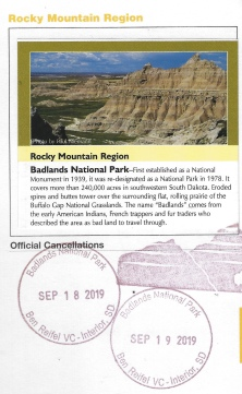 cancellation stamp for Badlands National Park