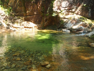 green pool at Sabbaday Falls